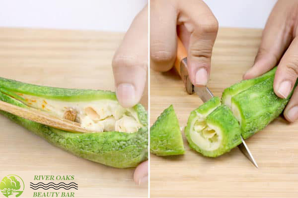 deseed and chop the bitter gourd