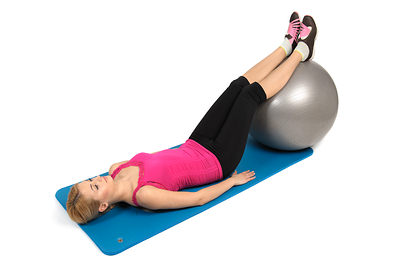 Lying Hamstring Curl with Stability Ball