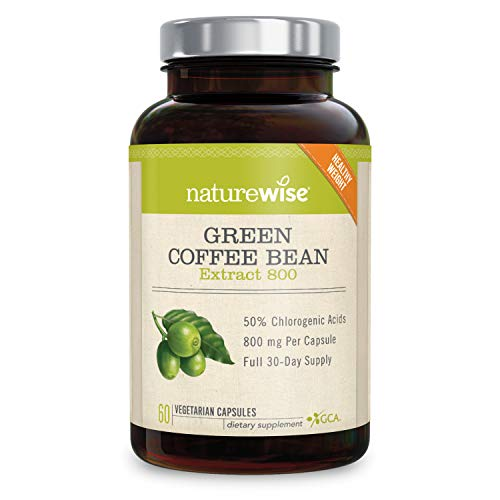NatureWise Green Coffee Bean 800mg Max Potency Extract 50% Chlorogenic Acids | Raw Green Coffee Antioxidant Supplement & Metabolism Booster for Weight Loss | Non-GMO, Vegan & Gluten-Free | 60 Capsules